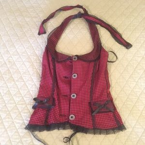 Red and black halter top.  Size M